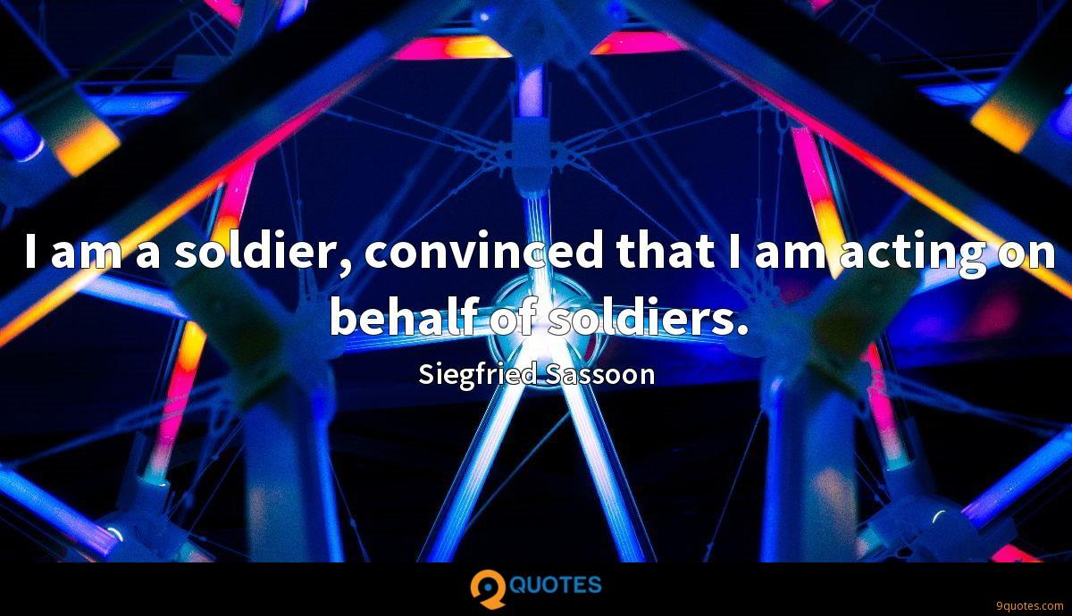 I am a soldier, convinced that I am acting on behalf of soldiers.