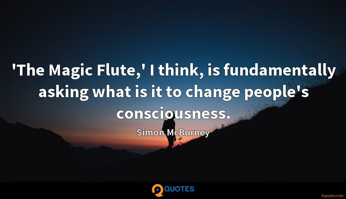 'The Magic Flute,' I think, is fundamentally asking what is it to change people's consciousness.