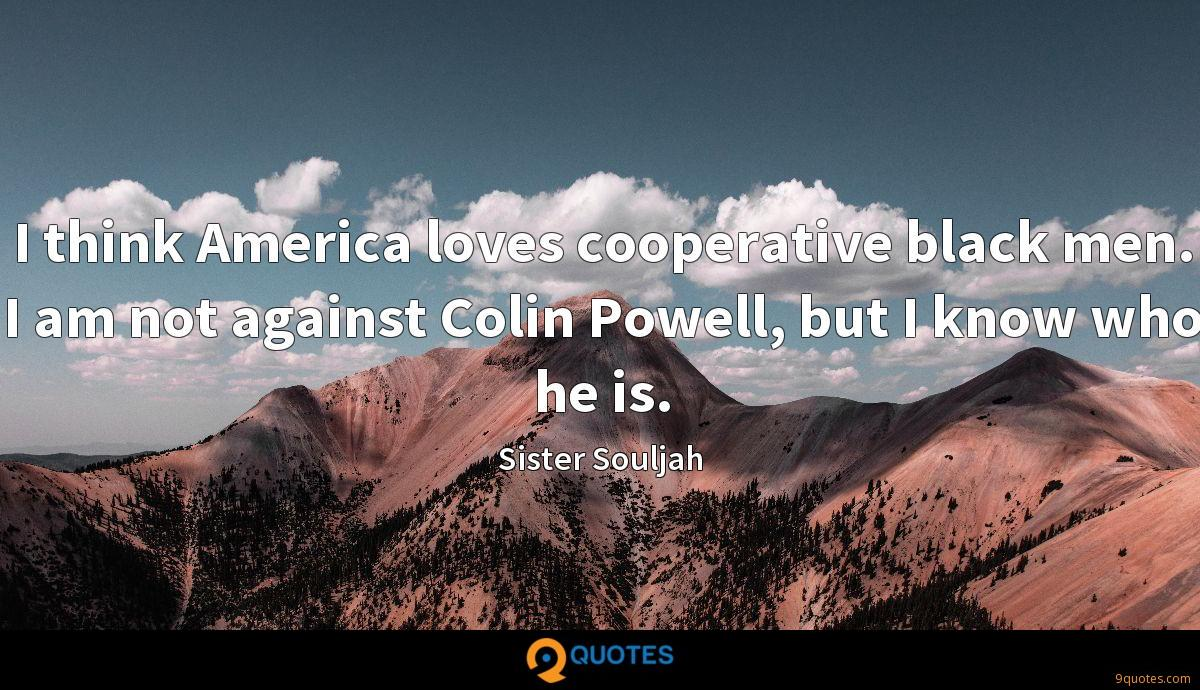 I think America loves cooperative black men. I am not against Colin Powell, but I know who he is.
