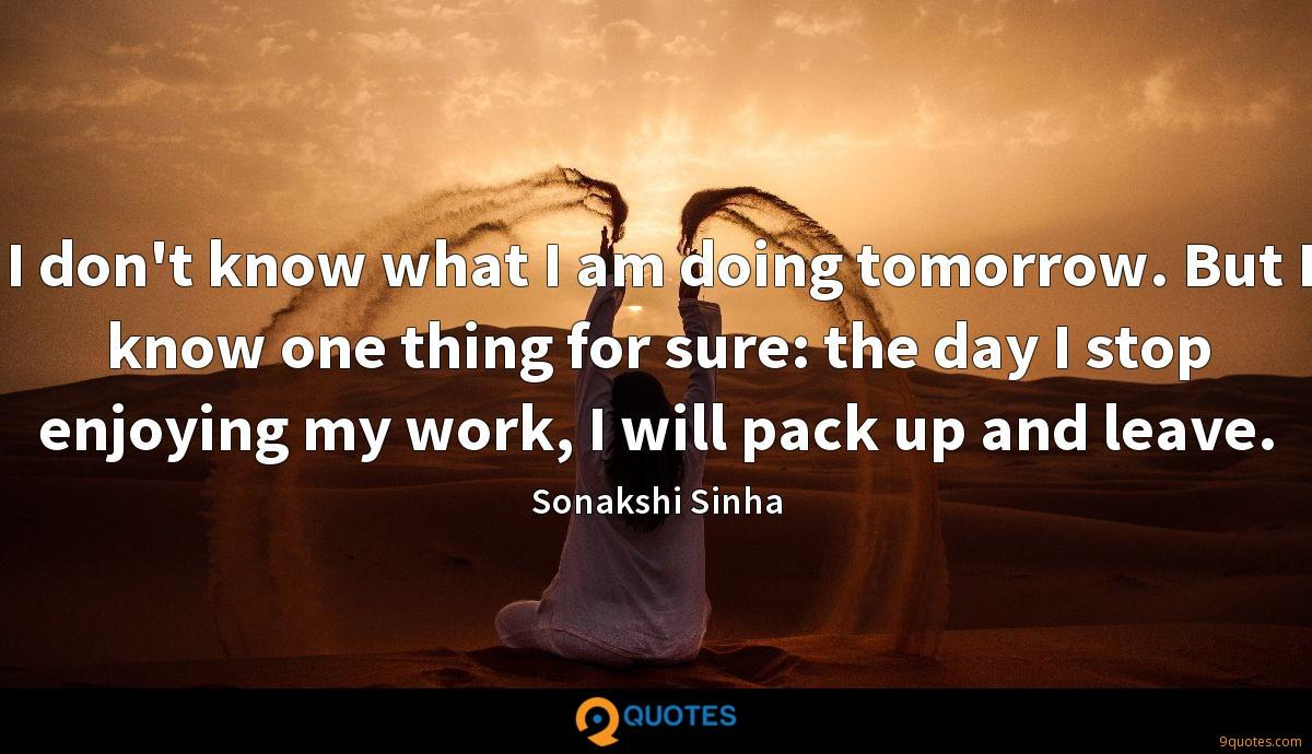 I don't know what I am doing tomorrow. But I know one thing for sure: the day I stop enjoying my work, I will pack up and leave.