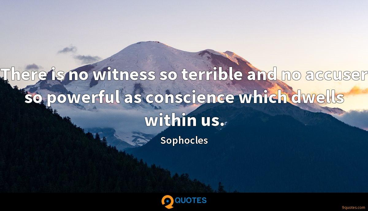 There is no witness so terrible and no accuser so powerful as conscience which dwells within us.