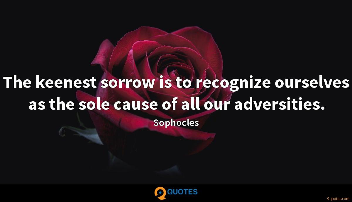 The keenest sorrow is to recognize ourselves as the sole cause of all our adversities.