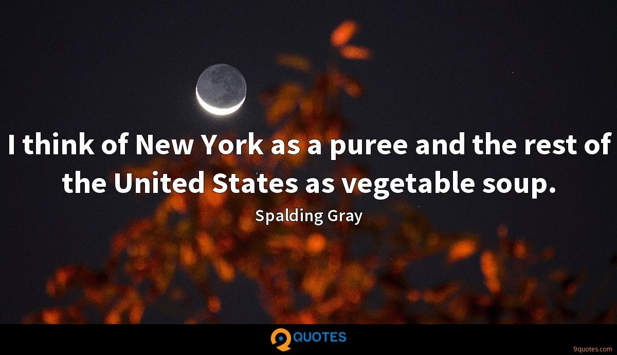 I think of New York as a puree and the rest of the United States as vegetable soup.