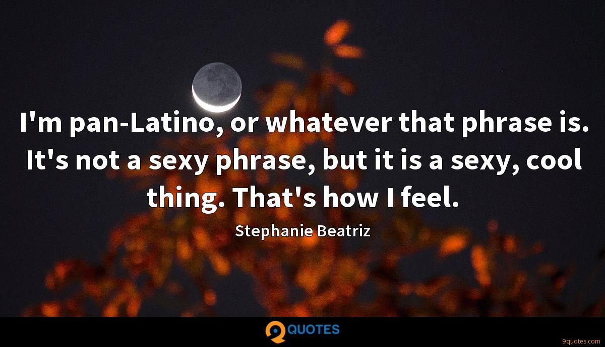 I'm pan-Latino, or whatever that phrase is. It's not a sexy phrase, but it is a sexy, cool thing. That's how I feel.