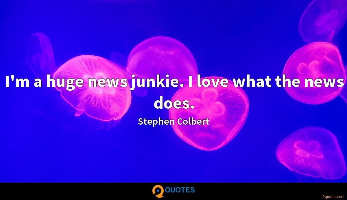 I'm a huge news junkie. I love what the news does.