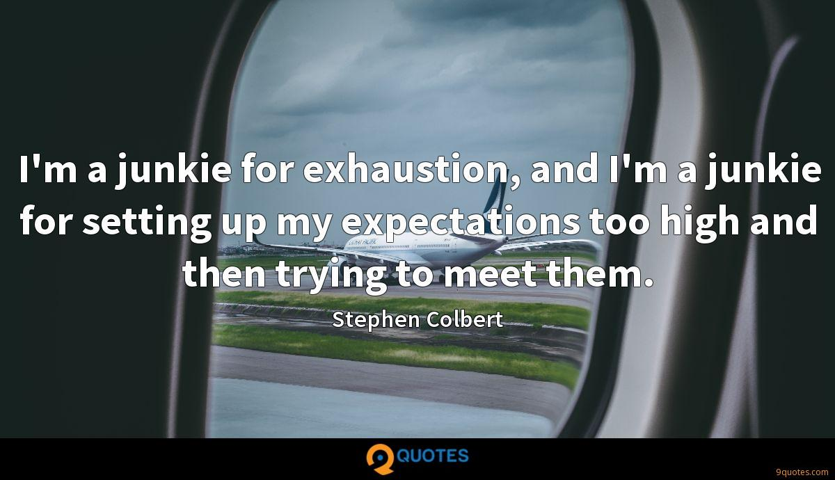 I'm a junkie for exhaustion, and I'm a junkie for setting up my expectations too high and then trying to meet them.