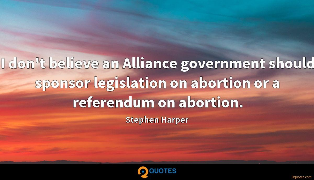 I don't believe an Alliance government should sponsor legislation on abortion or a referendum on abortion.