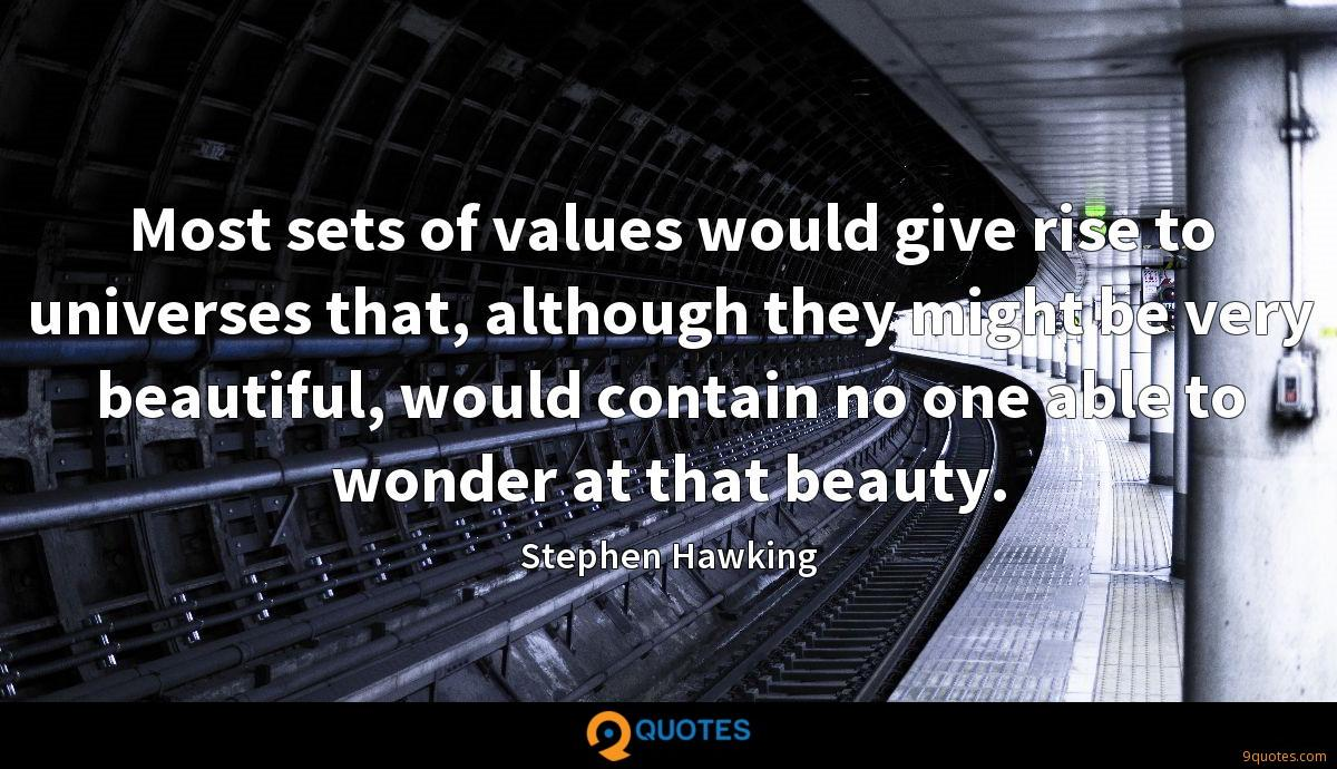 Most sets of values would give rise to universes that, although they might be very beautiful, would contain no one able to wonder at that beauty.