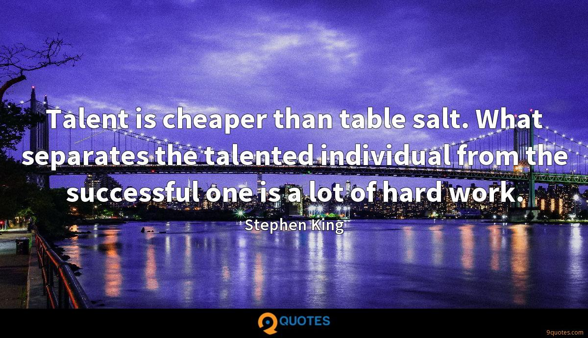 Talent is cheaper than table salt. What separates the talented individual from the successful one is a lot of hard work.