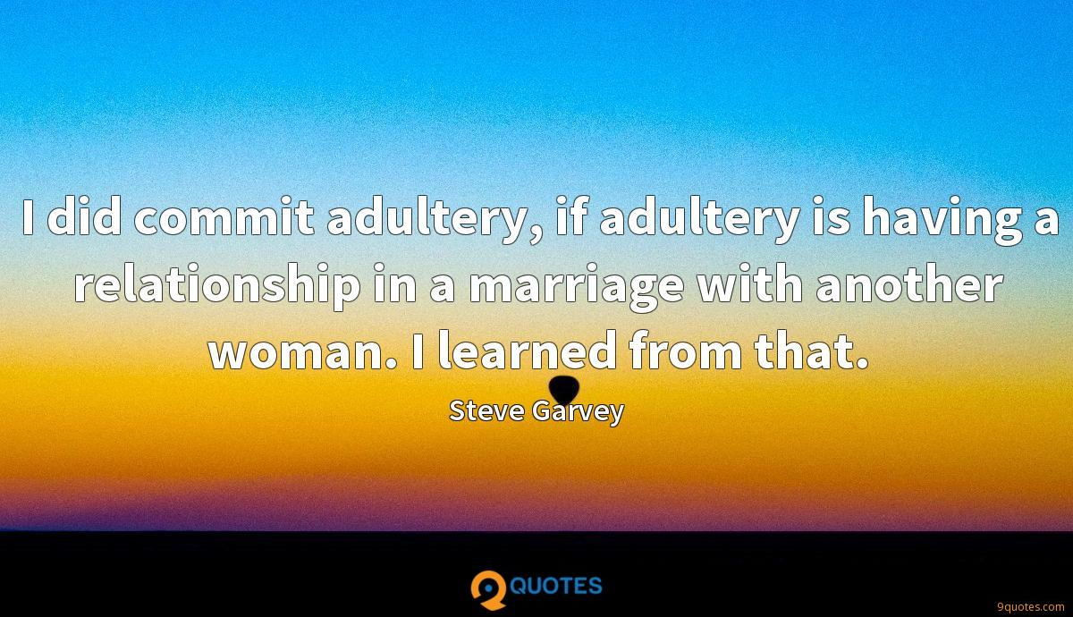 I did commit adultery, if adultery is having a relationship in a marriage with another woman. I learned from that.