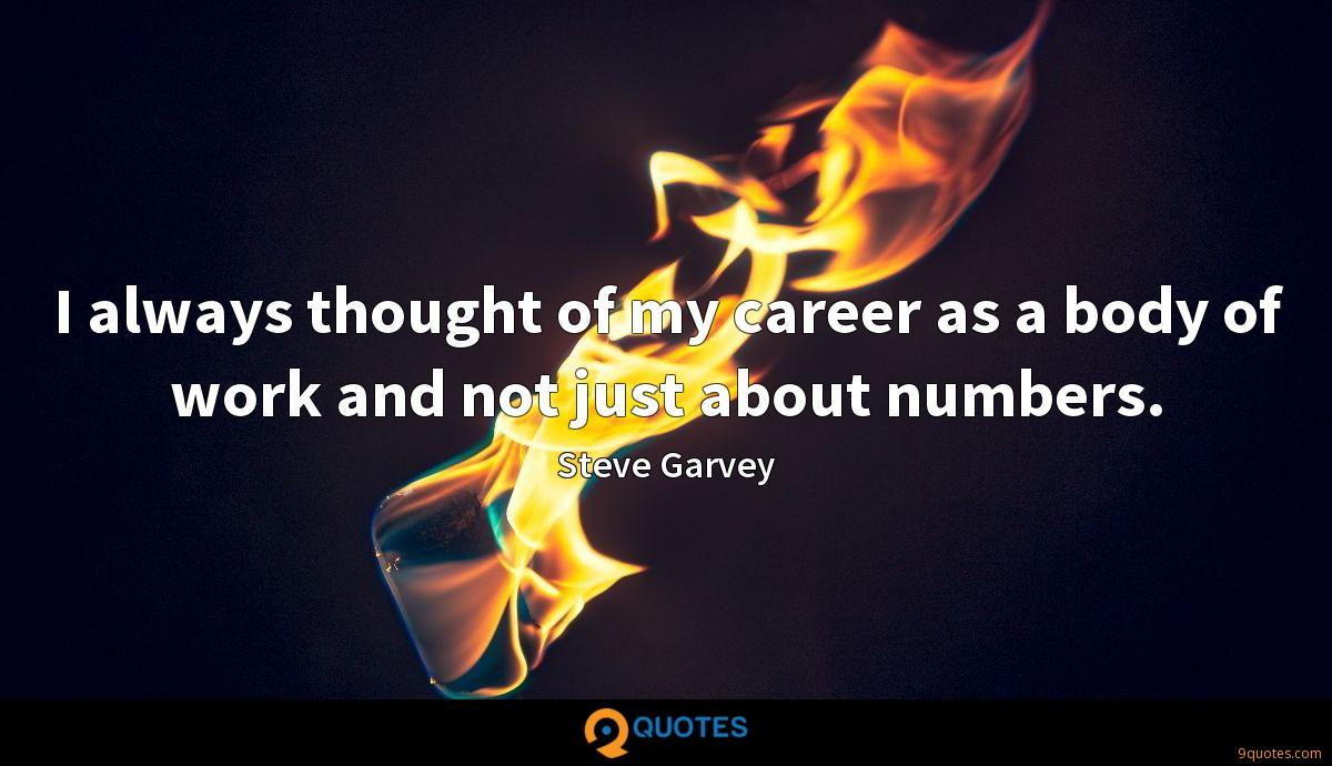 I always thought of my career as a body of work and not just about numbers.