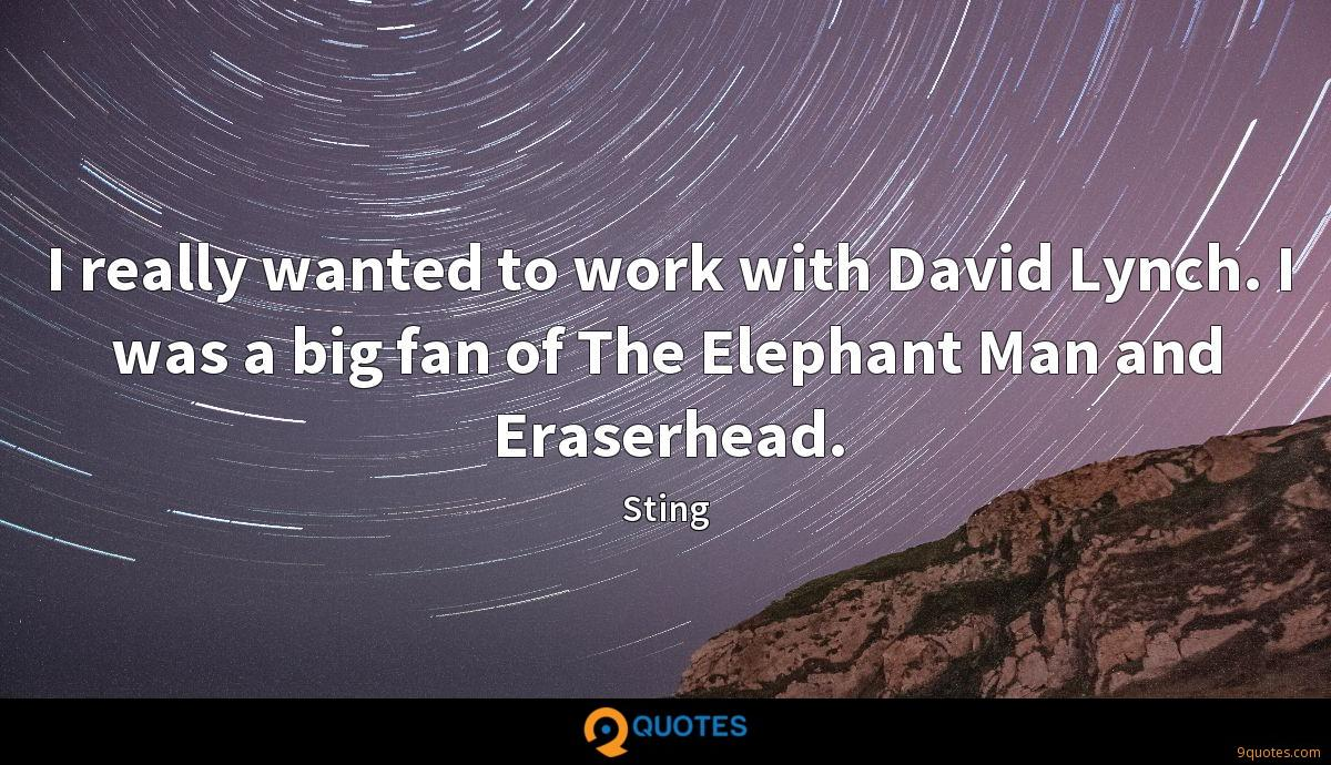 I really wanted to work with David Lynch. I was a big fan of The Elephant Man and Eraserhead.