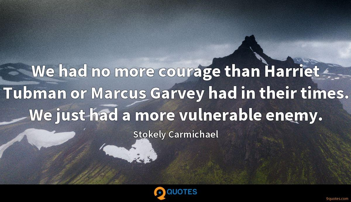 We had no more courage than Harriet Tubman or Marcus Garvey had in their times. We just had a more vulnerable enemy.