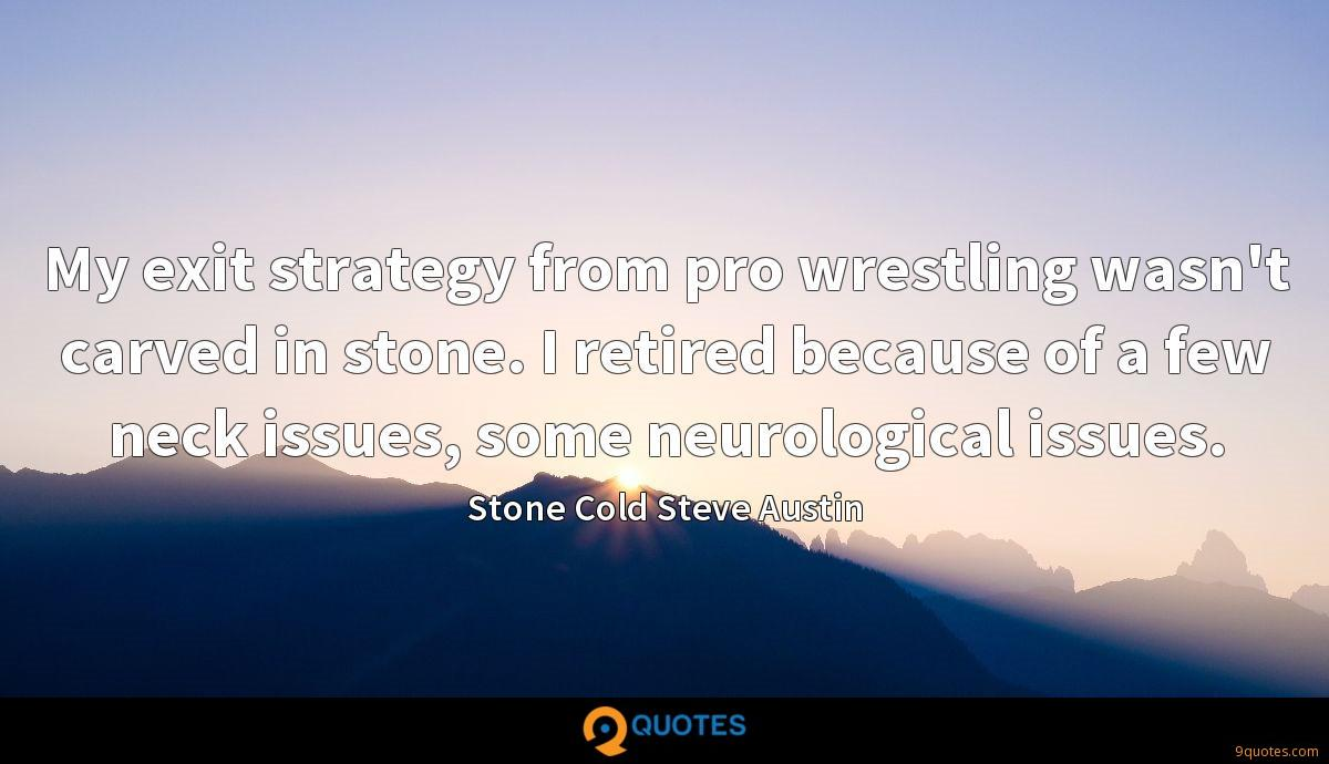 My exit strategy from pro wrestling wasn't carved in stone. I retired because of a few neck issues, some neurological issues.