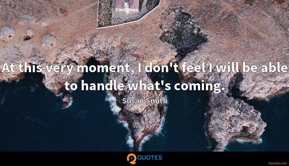 At this very moment, I don't feel I will be able to handle what's coming.