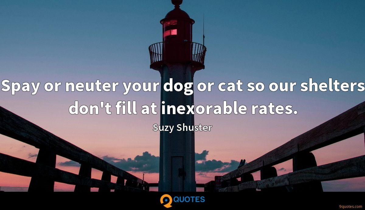 Spay or neuter your dog or cat so our shelters don't fill at inexorable rates.