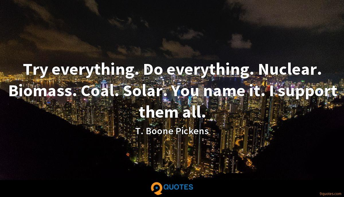 Try everything. Do everything. Nuclear. Biomass. Coal. Solar. You name it. I support them all.