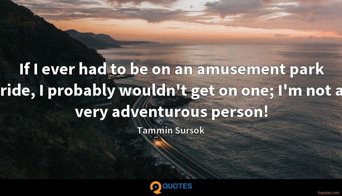 If I ever had to be on an amusement park ride, I probably wouldn't get on one; I'm not a very adventurous person!