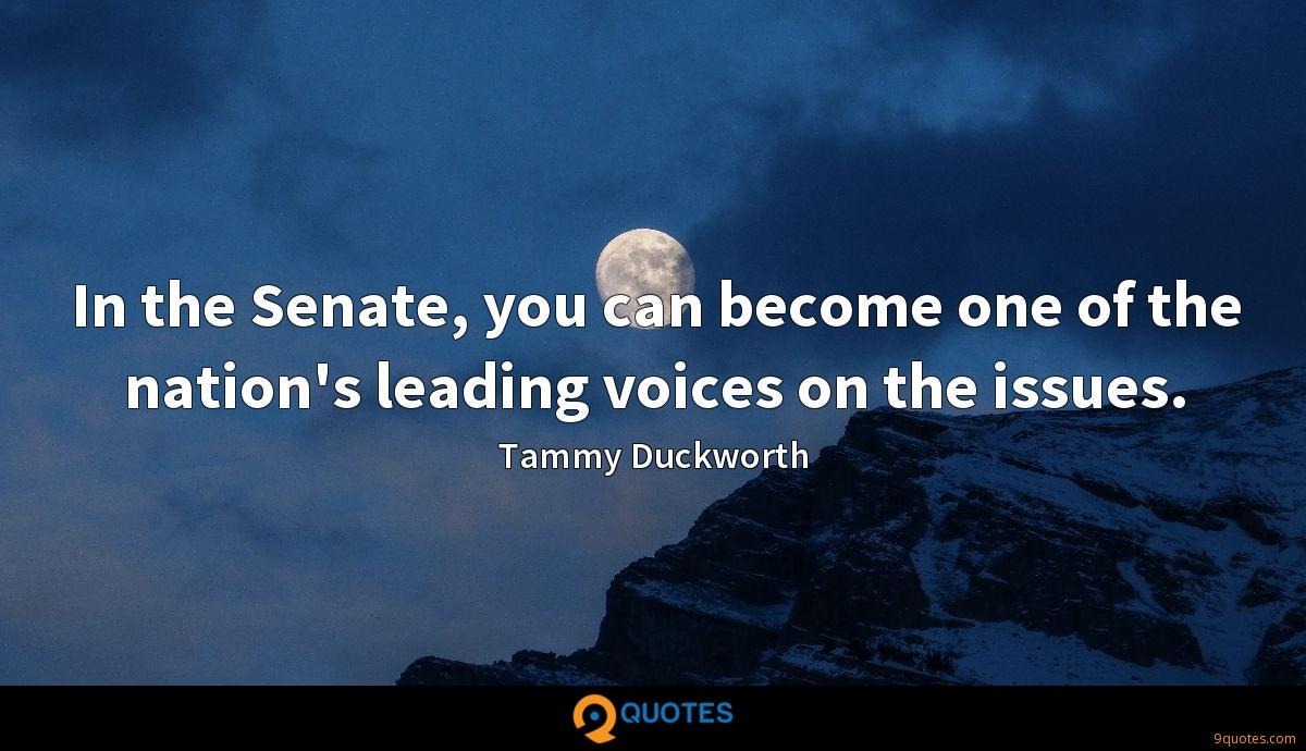 In the Senate, you can become one of the nation's leading voices on the issues.