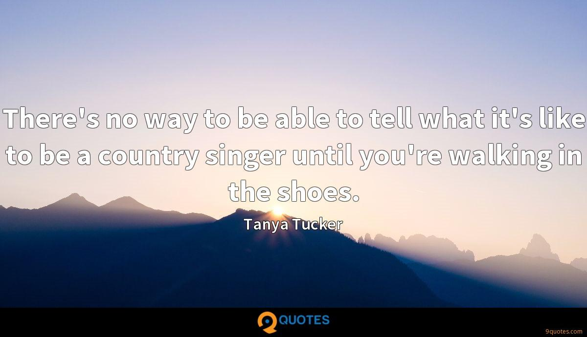 There's no way to be able to tell what it's like to be a country singer until you're walking in the shoes.