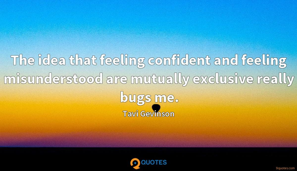 The idea that feeling confident and feeling misunderstood are mutually exclusive really bugs me.
