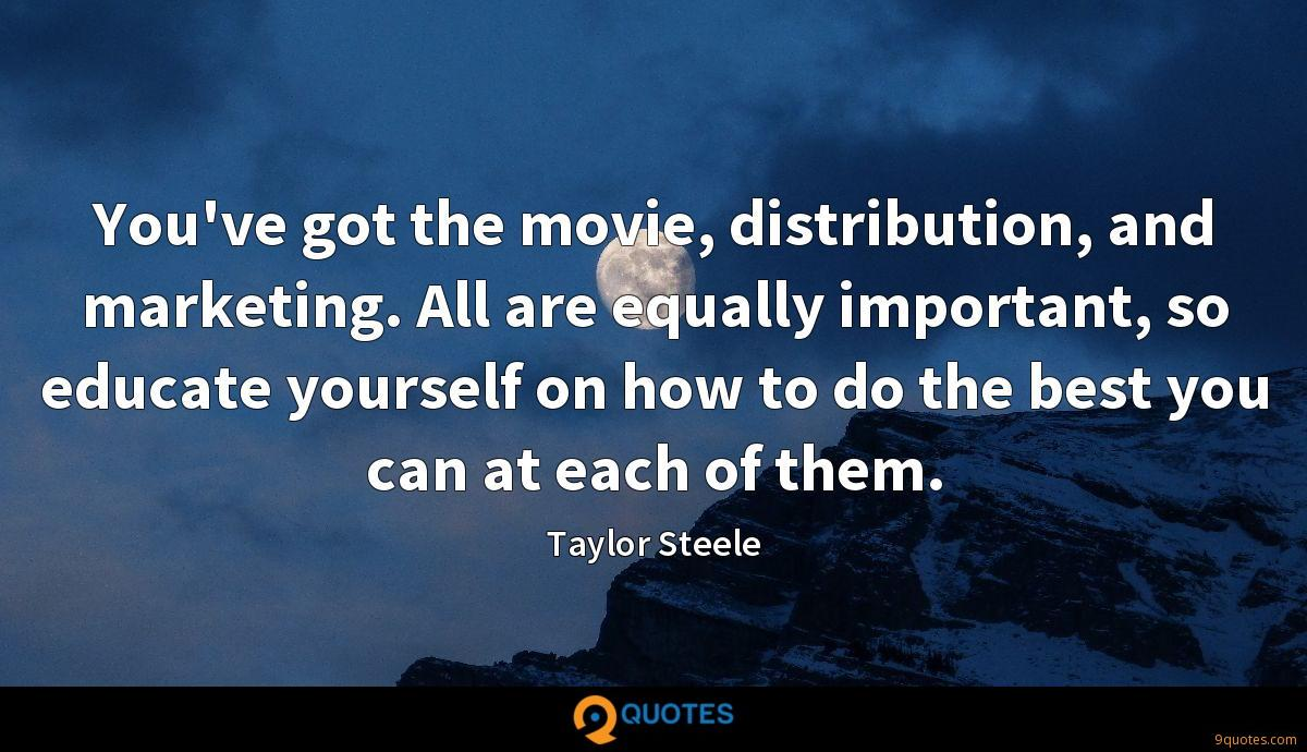 You've got the movie, distribution, and marketing. All are equally important, so educate yourself on how to do the best you can at each of them.