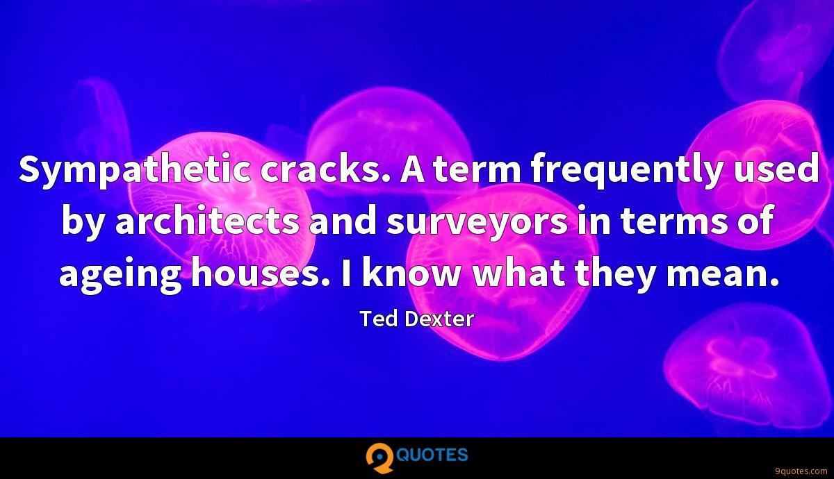 Sympathetic cracks. A term frequently used by architects and surveyors in terms of ageing houses. I know what they mean.