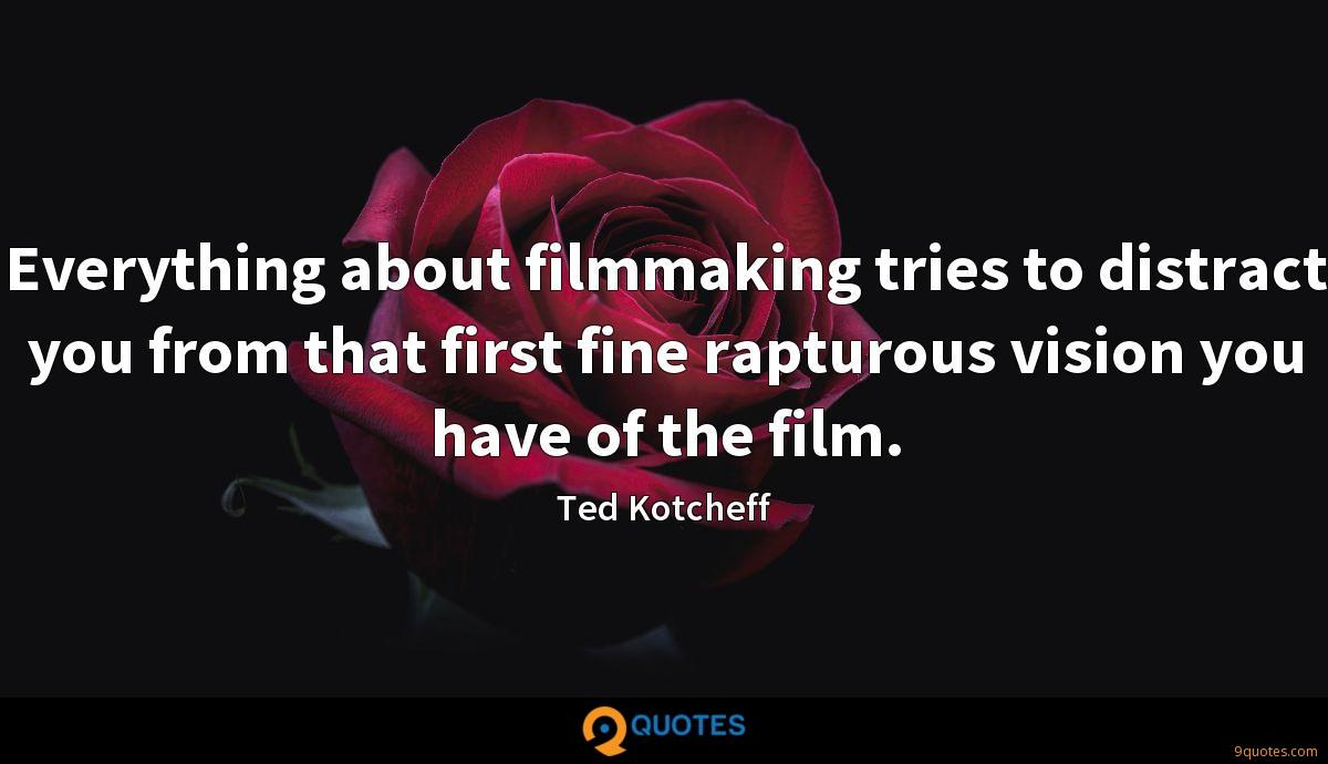 Everything about filmmaking tries to distract you from that first fine rapturous vision you have of the film.