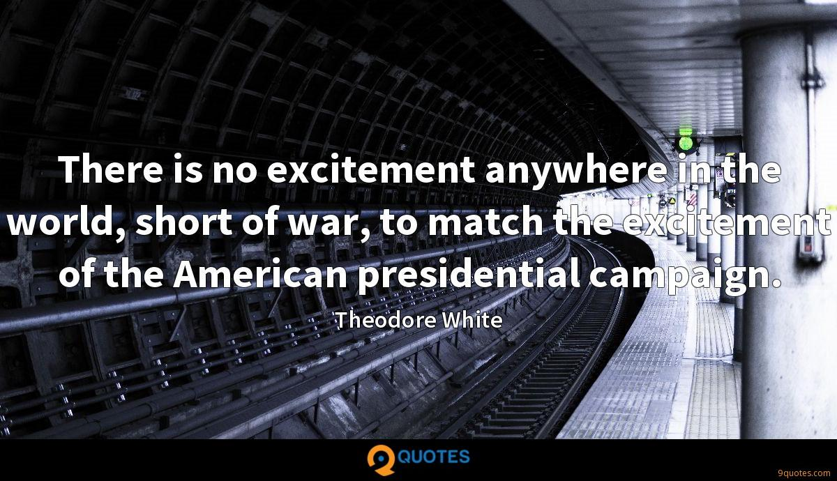 There is no excitement anywhere in the world, short of war, to match the excitement of the American presidential campaign.