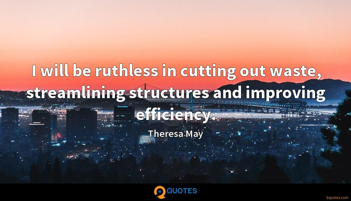 I will be ruthless in cutting out waste, streamlining structures and improving efficiency.
