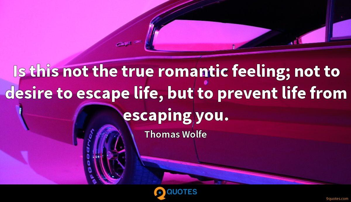 Is this not the true romantic feeling; not to desire to escape life, but to prevent life from escaping you.