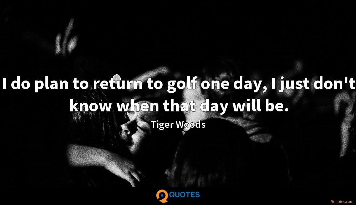 I do plan to return to golf one day, I just don't know when that day will be.
