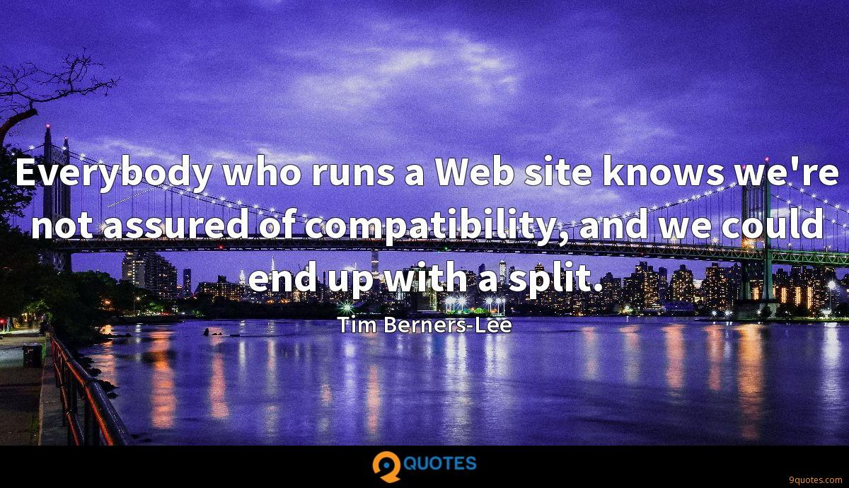 Everybody who runs a Web site knows we're not assured of compatibility, and we could end up with a split.