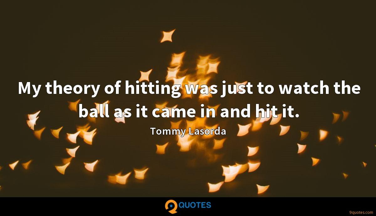 My theory of hitting was just to watch the ball as it came in and hit it.