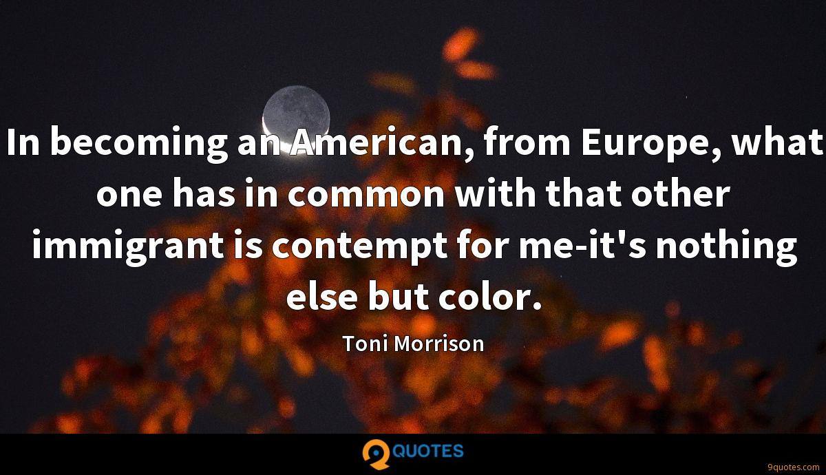 In becoming an American, from Europe, what one has in common with that other immigrant is contempt for me-it's nothing else but color.