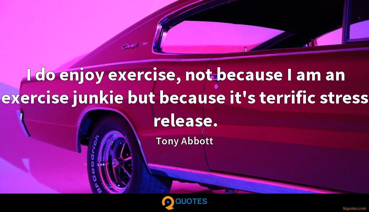 I do enjoy exercise, not because I am an exercise junkie but because it's terrific stress release.