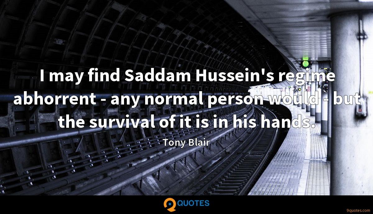 I may find Saddam Hussein's regime abhorrent - any normal person would - but the survival of it is in his hands.