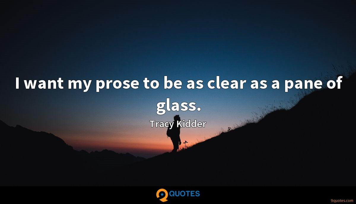 I want my prose to be as clear as a pane of glass.