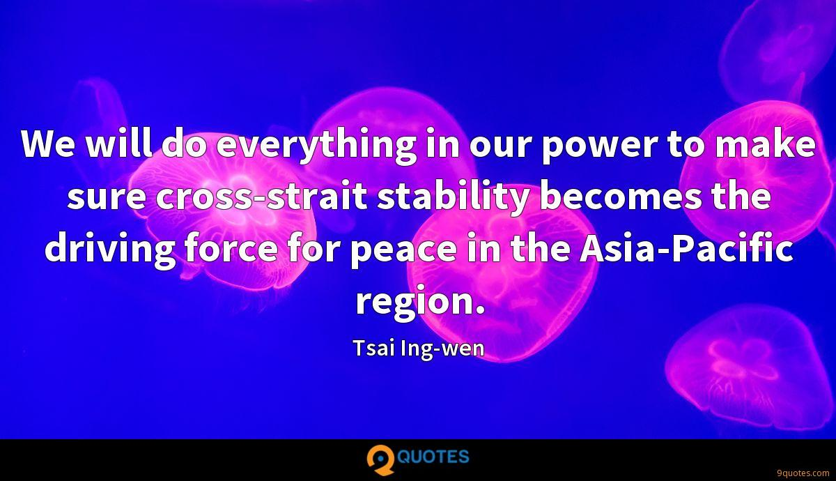 We will do everything in our power to make sure cross-strait stability becomes the driving force for peace in the Asia-Pacific region.