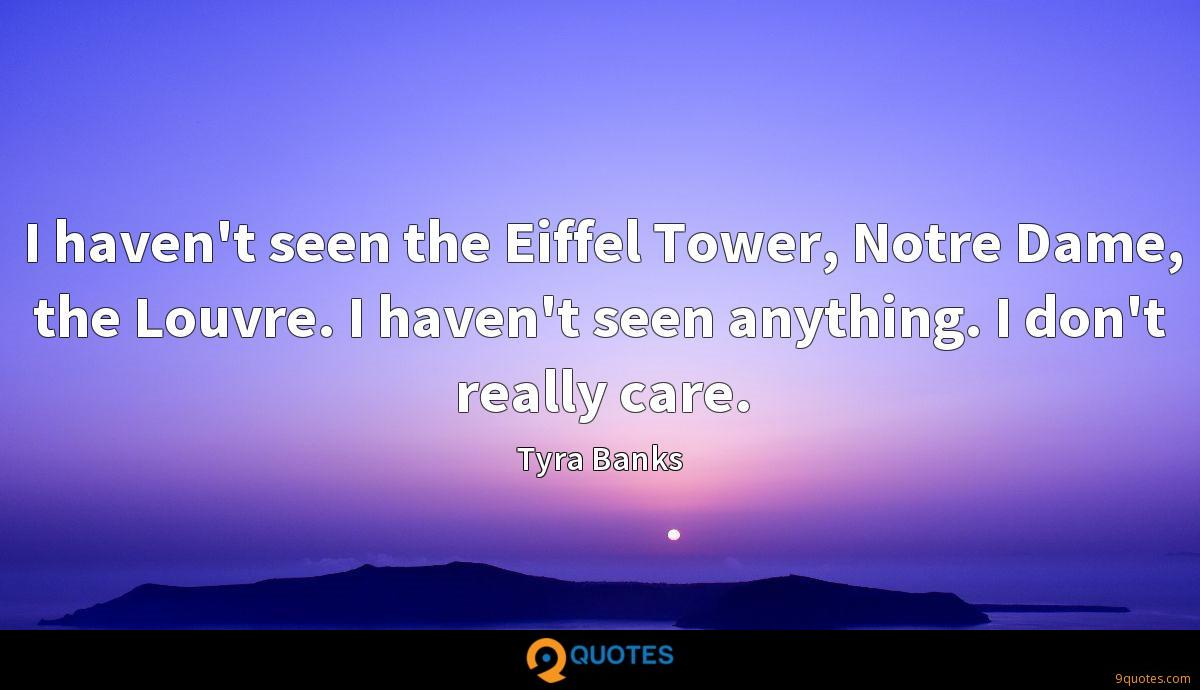 I haven't seen the Eiffel Tower, Notre Dame, the Louvre. I haven't seen anything. I don't really care.