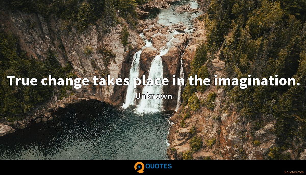 True change takes place in the imagination.