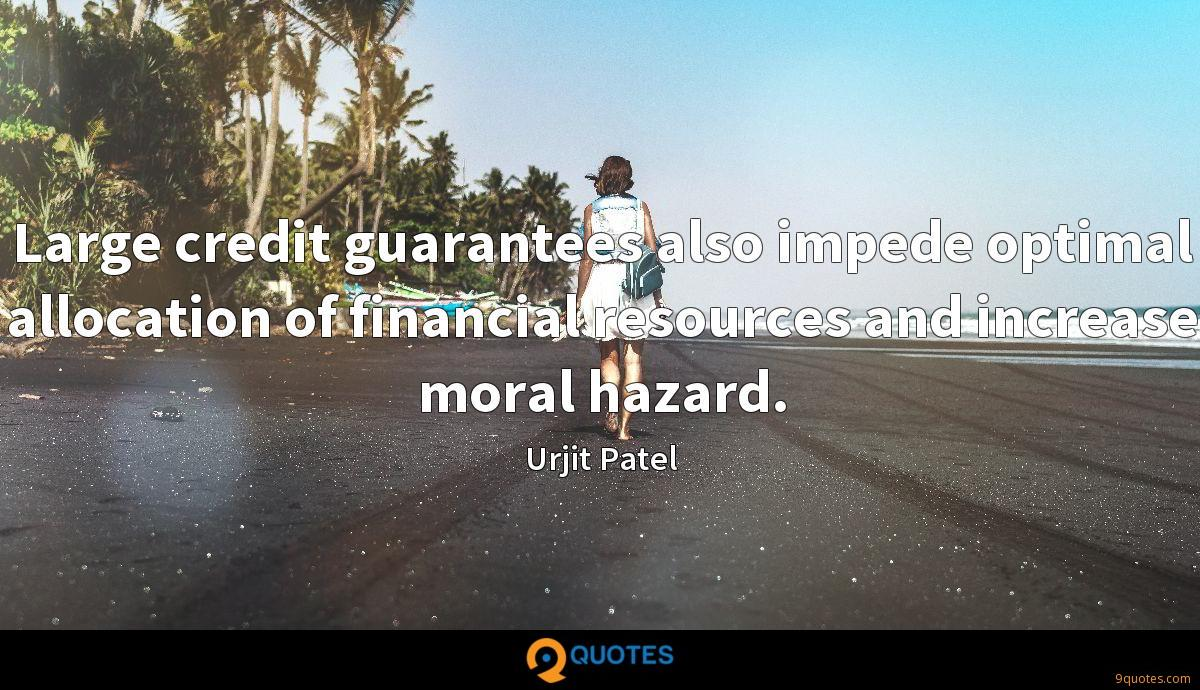 Large credit guarantees also impede optimal allocation of financial resources and increase moral hazard.