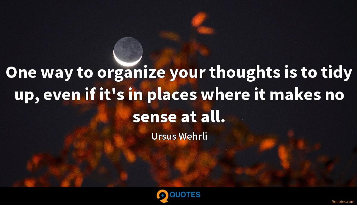 One way to organize your thoughts is to tidy up, even if it's in places where it makes no sense at all.