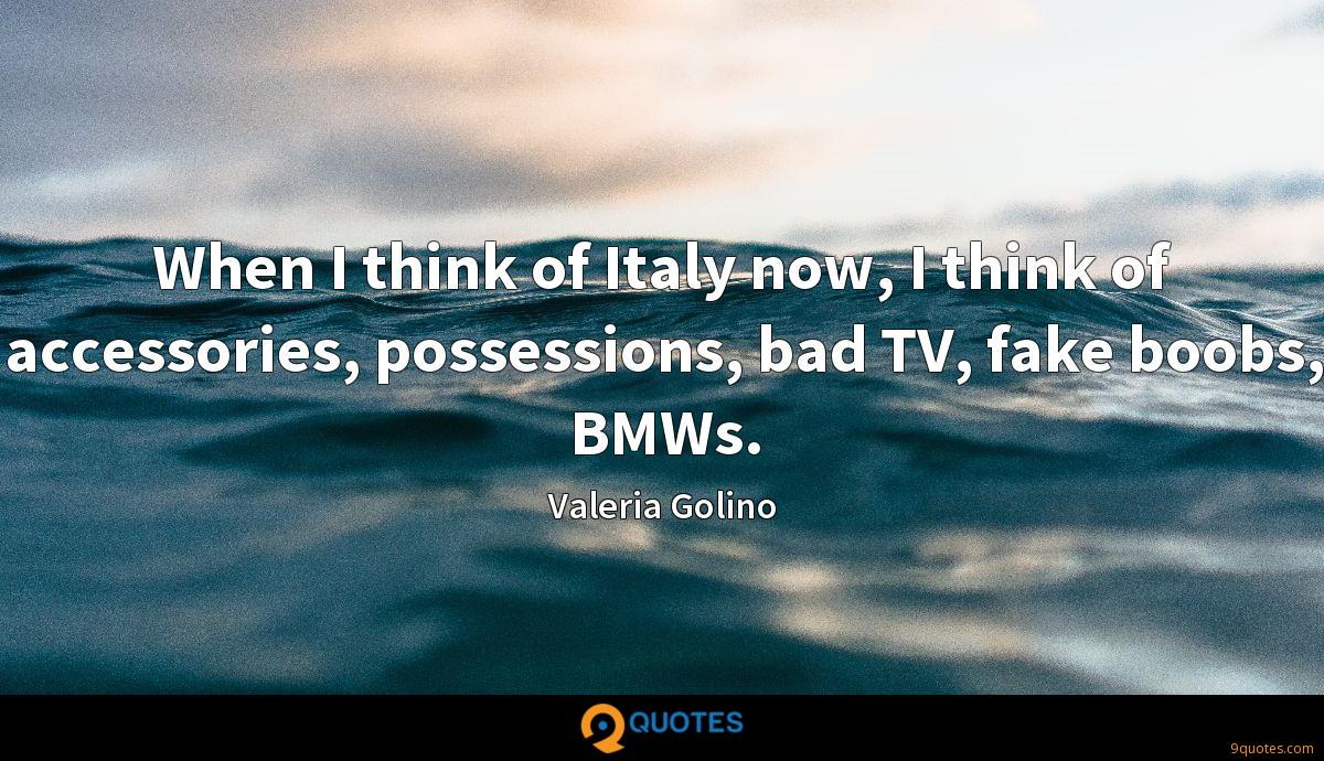 When I think of Italy now, I think of accessories, possessions, bad TV, fake boobs, BMWs.