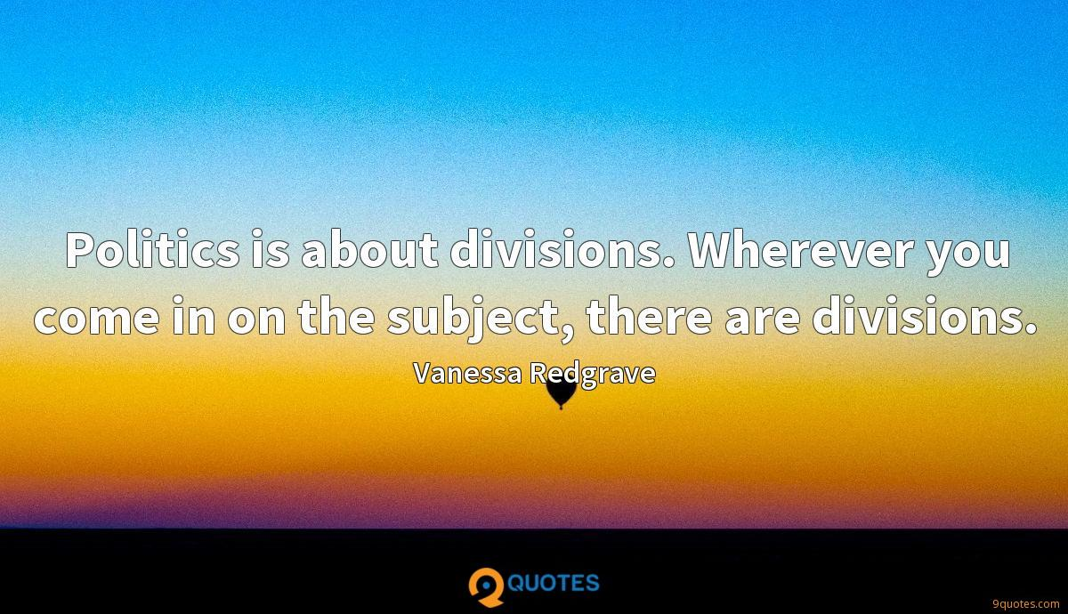 Politics is about divisions. Wherever you come in on the subject, there are divisions.