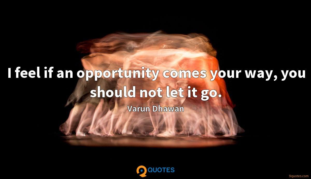 I feel if an opportunity comes your way, you should not let it go.