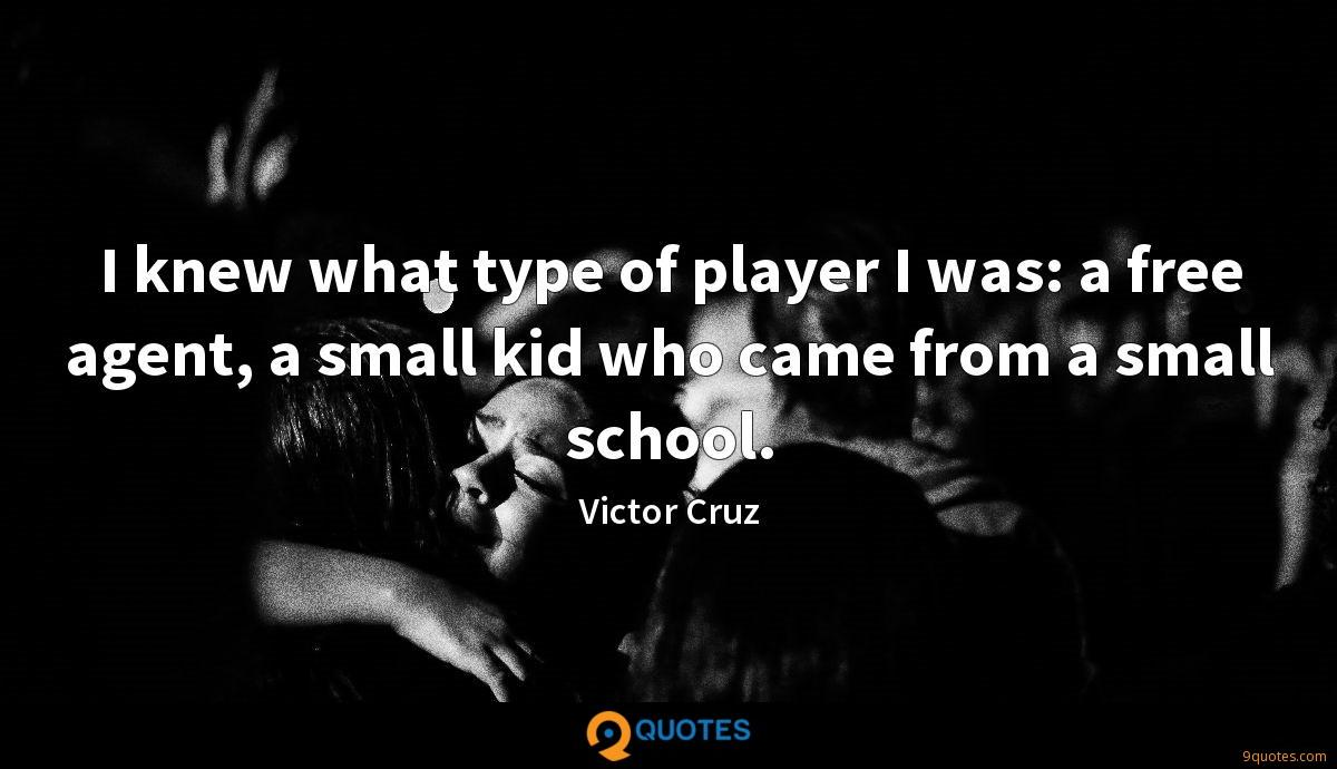 I knew what type of player I was: a free agent, a small kid who came from a small school.