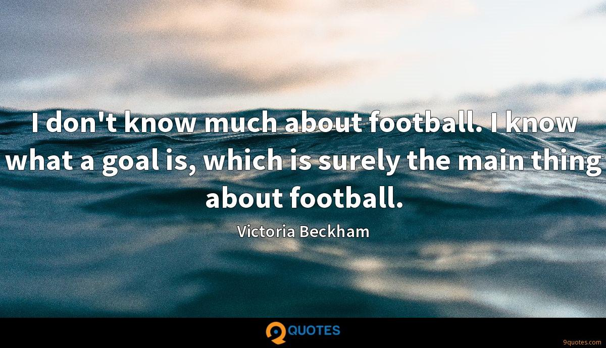 I don't know much about football. I know what a goal is, which is surely the main thing about football.