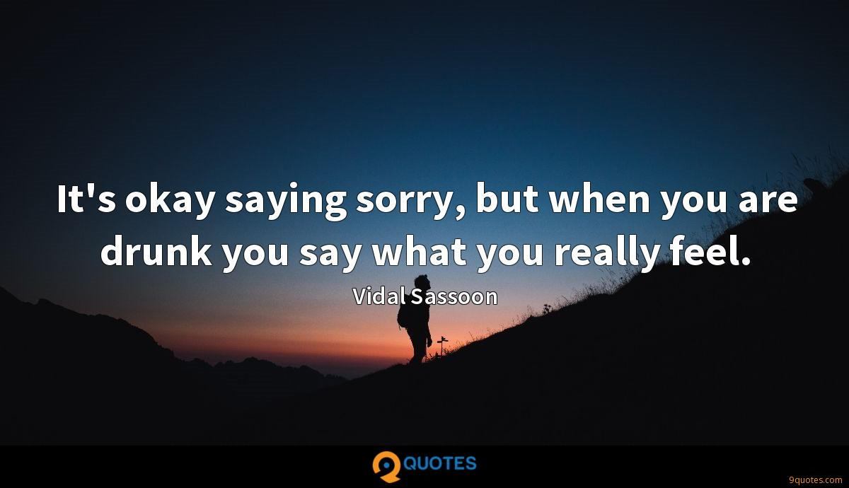 It's okay saying sorry, but when you are drunk you say what you really feel.