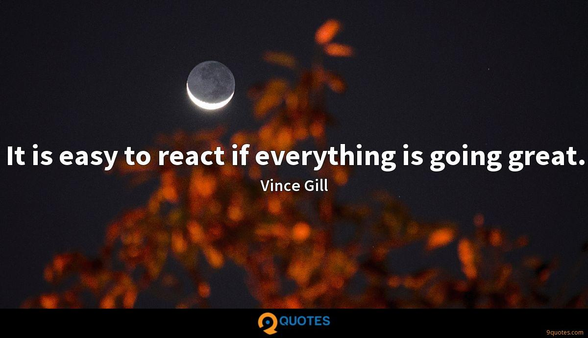 It is easy to react if everything is going great.